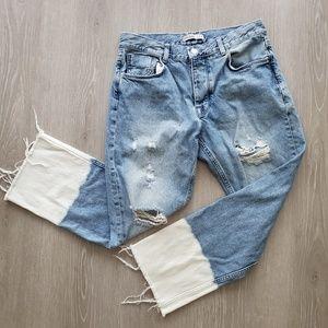Zara Basic Z1975 Boyfriend Bleached Hem Jeans